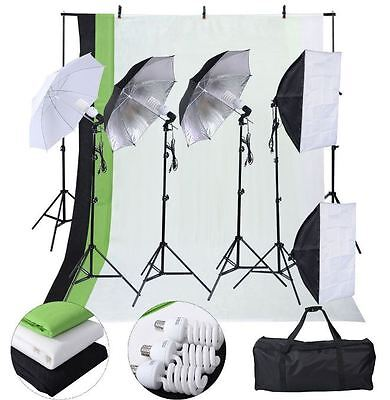 Photo Studio Photography Kit 4 Light Bulb Umbrella 3 Backdrop Stand Muslin New