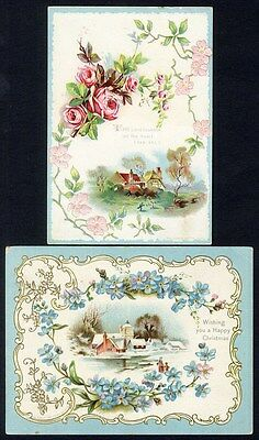 COUNTRYSIDE VICTORIAN CHRISTMAS Greeting Cards 1880s - Roses Bible Verse on One