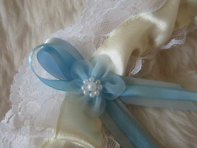 Handmade Ivory Wedding Garter White Lace, Light Blue Ribbon & Organza Flower.