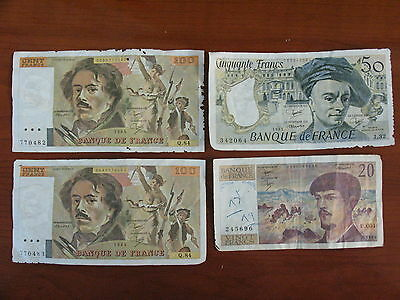 France Old Collection Of Paper Money Bills 20 To 100 Francs