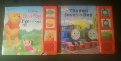 Thomas Saves the Day & POOH  Plays Hide and Seek Play a sound Book LOT KIDS read