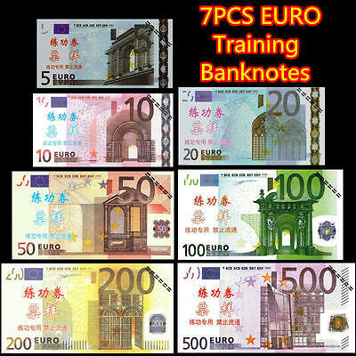 7PCS EURO €500/200100/50/20/10/5 Training Banknotes Props Money Home Decor Arts