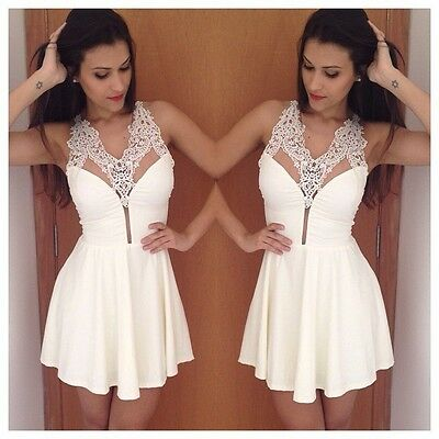 NEW Backless Sleeveless Womens Casual V-Neck Lace Party Dress Vestido White
