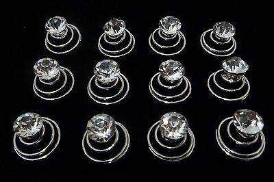 Bridal 12 x diamante rhinestone spiral hair pins