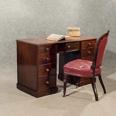 Antique Writing Study Pedestal Desk Leather Top Victorian Mahogany Quality c1890