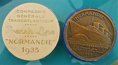 Ss Normandie-French Line-1935 -Le Havre-New-York- Superb Bronze  Art Deco-In Box