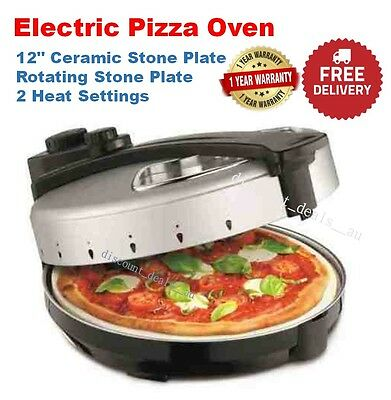 "Pizza Cooker Oven Maker Bake Electric Rotating 12"" Ceramic Stone Plate Italian"