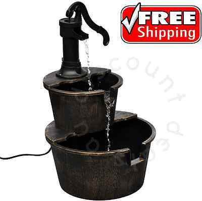 Fountain Outdoor Garden Water Feature Barrel Design with Pump Patio Verandah NEW