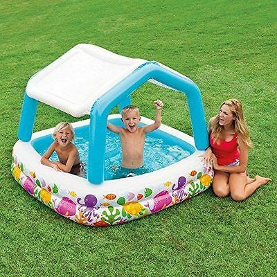 Kids Shaded Pool Swimming Pool with Sun Shade Canopy Inflatable Splash Paddle