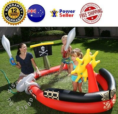 Pirate Swimming Pool Inflatable Water Cannon Pool Kids Pretend Play Sword Flag