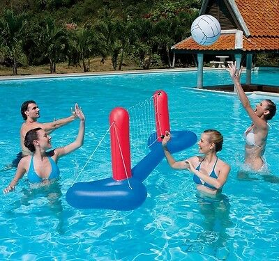 Pool Volleyball Set 2.4m Floating Inflatable Adult Volley Ball Game Water Sport