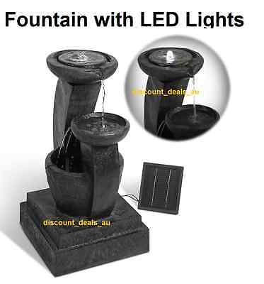Fountain Water Feature Outdoor Bird Bath Solar Powered Panel Pump LED Lights Bac