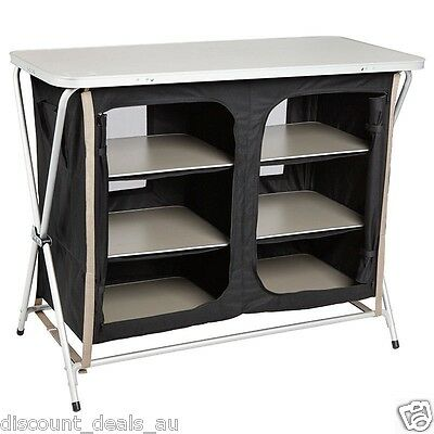 Fold Out Camping Picnic Kitchen Table 6 Compartments Camp Cooking Bench Storage