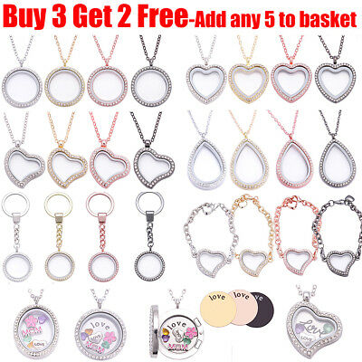 Living Memory Floating Charm Locket Pendant Necklace Bracelet Keychain For Women