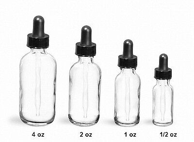 Boston Round CLEAR Glass Dropper Bottles 2 oz (60 ml) (Lot of 24)