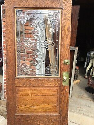 "An One Antique Beveled Glass Oak Entrance Door 40"" X 81.5"""