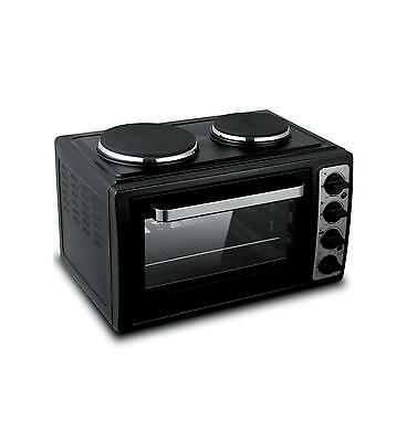 New Giani 28L Electric Oven Mini Cooker / Table Top Oven with Hob Black