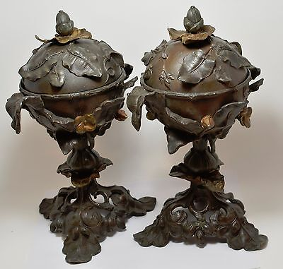 EARLY CAST METAL  PAIR VASES ~ LIDDED ~ 11'' Tall ~
