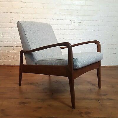 Stunning Vtg mid century Greaves And & Thomas Reupholstered Linen teak Arm Chair
