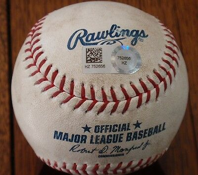 2015 Dodgers / Padres Game Used Baseball - Hit for a Double