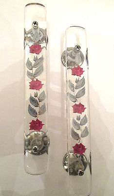 1960'S/70's FLORAL RESIN DOOR HANDLES PAIR