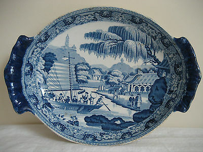 Antique Davenport B & W Pearlware Imperial Park At Gehol  Dish C 1793 - 1810