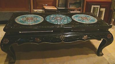 Antique Chinese Decorative Coffee Table W / Insert Of 3  Large Cloisonne Plaques
