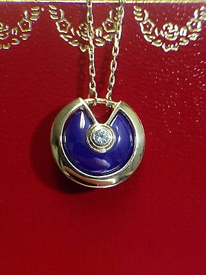 Midnight Blue 14k Yellow Gold Amulet Pendant Necklace | NEW