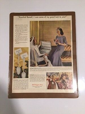 1847 ROGERS BROS. SILVERPLATE 1938 AD- Rosalind Russell