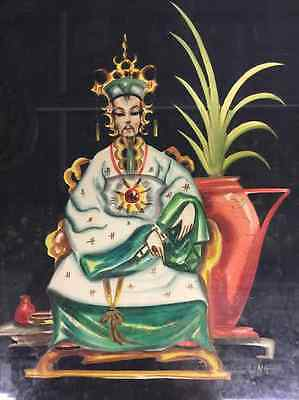 Vintage Chinese Emperor Ancestor Portrait Watercolor Picture Signed Ling
