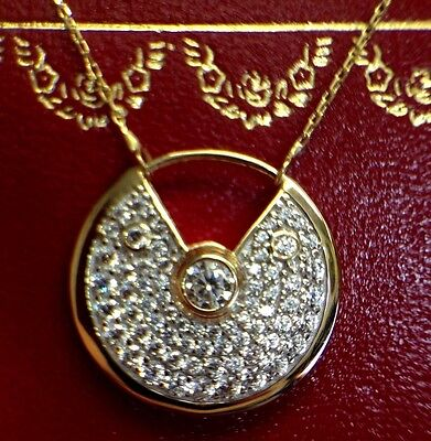 Stunning! Sparkling Pave 14k Yellow Gold Amulet Pendant Necklace | NEW