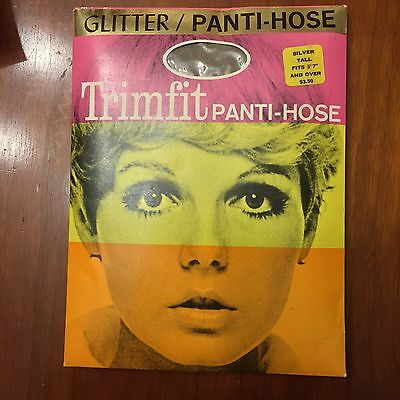 Twiggy Trimfit Hosiery Silver Glitter Nylons Stockings Vintage 60s New Old Stock