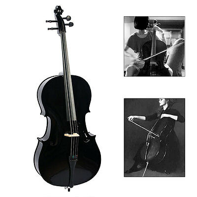 Classic 4/4 Full Size Solid Wood Special Black Cello Set With Bow + Rosin + bag