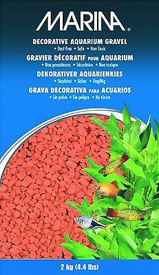 Marina Decorative Aquarium Gravel 2 Kg Orange 2kg Red