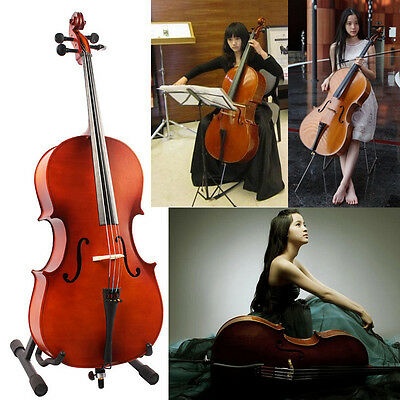UK 1/2 Size Handmade Maple Wood Classic Brown Cello Set Solo W/ Bow +Rosin + Bag