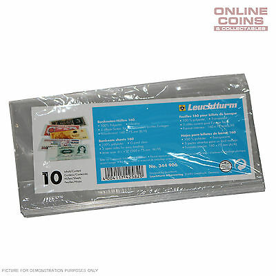 Lighthouse Premium Bank Note Sleeves 160mm x 75mm - 10 Pack