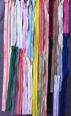 25 New zippers assorted type, lengths and mixed colours