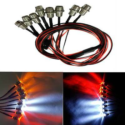 8Led 5mm light Metal Lampshade Headlamps Kit For RC climbing/Drift/Truck Car