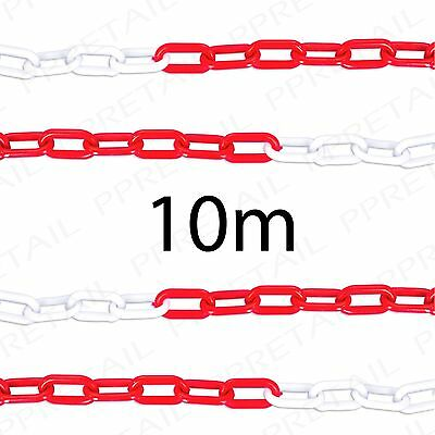 10M RED/WHITE PLASTIC CHAIN Visible Barrier Site/Area Safety Caution Fence Cord
