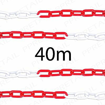 40M RED/WHITE PLASTIC CHAIN Visible Barrier Safety Caution Area Perimeter Cord