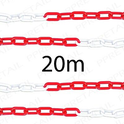 20M RED/WHITE PLASTIC CHAIN Visible Barrier Safety Caution Perimeter Fence Cord