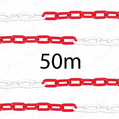 50M RED/WHITE PLASTIC CHAIN Visible Area/Site Barrier Safety Caution Fence Cord