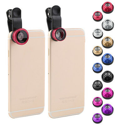 Hot 3 In 1 Clip Camera Lens Fish Eye Wide Angle Macro Kit For Smart Phone NEW ST