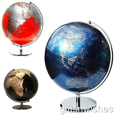 MAGNIFICENT HIGH QUALITY Metallic Blue Red Black & Copper/Gold World Globe 30cm