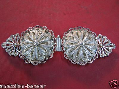 Turkish Silver Filigree Belt Buckle From Mardin