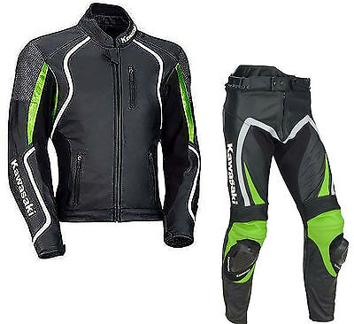 KAWASAKI Men Motorcycle Leather Suit Biker Suit Motorbike Leather Jacket Trouser