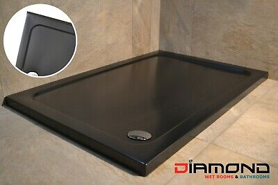 1000x800 BLACK MATT Rectangular Stone Slimline Shower Tray 40mm inc Waste