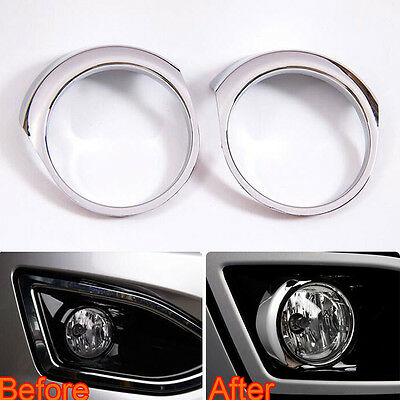 For Ford Edge 2015 2016 Chrome Front Fog light Lamp Bezel Cover Trim 2Pcs ABS