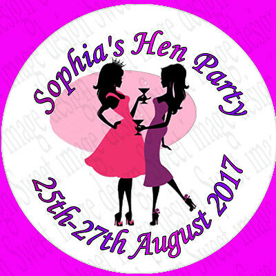 35 Personalised Hen Party Stickers 3FOR2 Sticker Labels Night Out Circle party