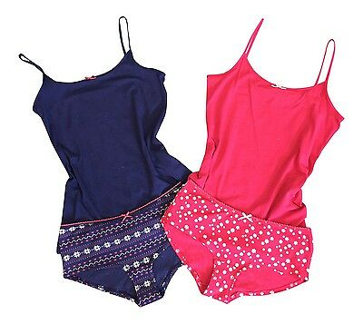 Womens Ladies Navy / Red Cotton Rich Pyjama Pj Cami Top and Panty Knickers Set